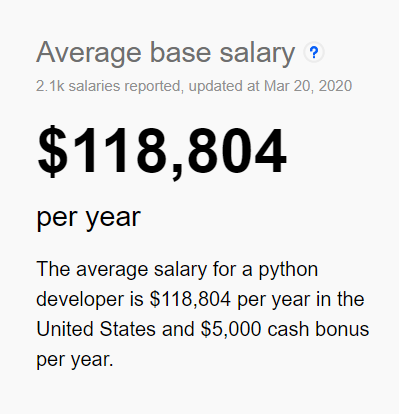 average salary for python