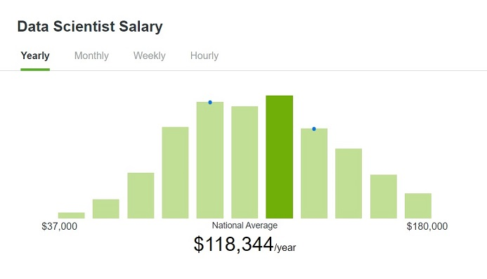 Data Scientist - Average Annual Salary in the United States