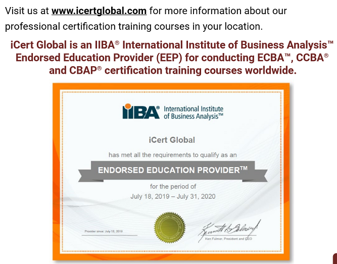 iCert Global is an IIBA Endorsed Education Provider for conducting CBAP certification training courses worldwide.