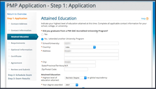 Attained education in PMP Application form