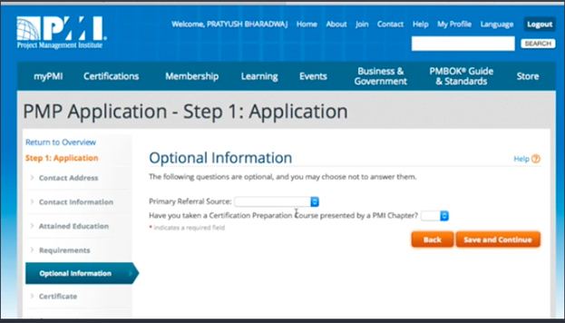 Optional Information in PMP application