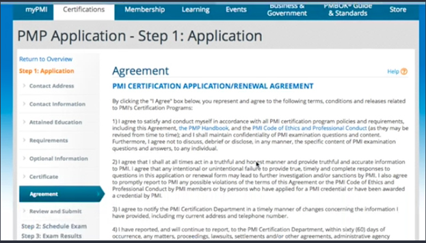 Agreement in PMP application form